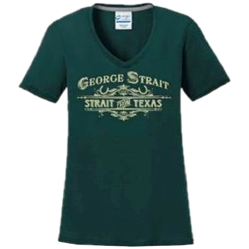 George Strait Ladies Dark Green V Neck Performance Tee