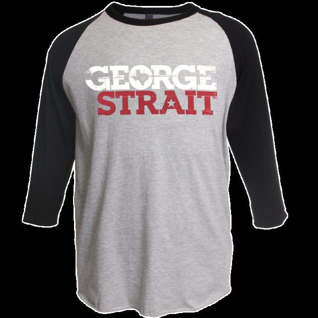 George Strait Heather Grey and Black Raglan Tee