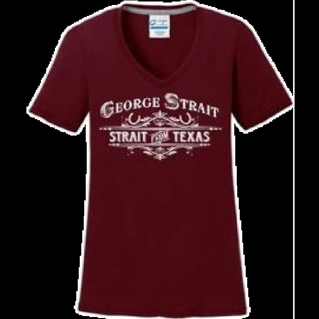 George Strait Ladies Maroon V Neck Performance Tee