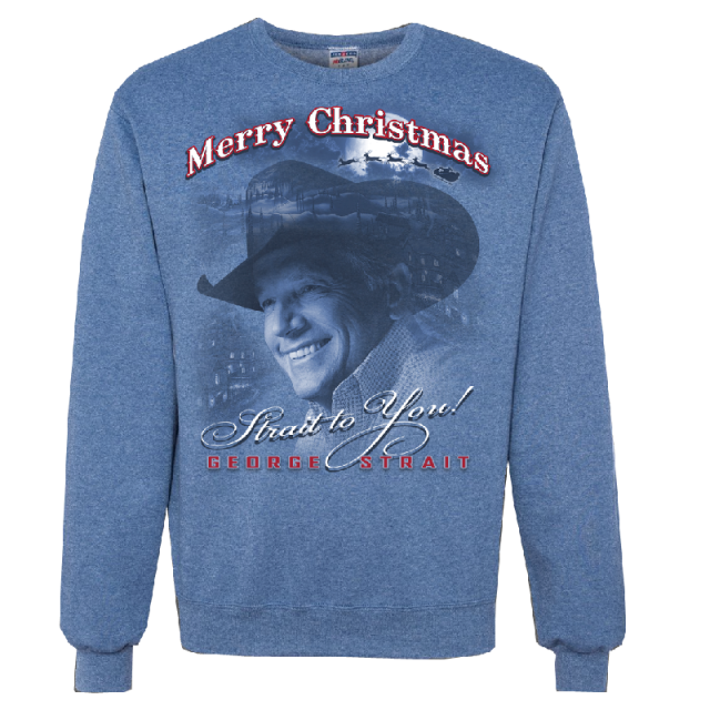 George Strait Heather Blue Christmas Sweatshirt