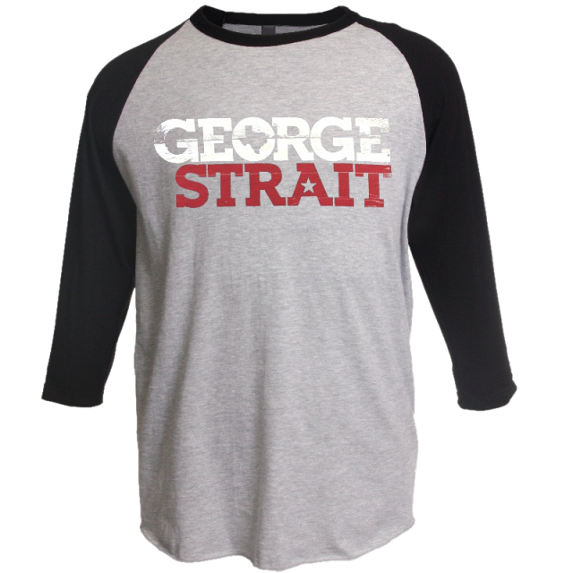 George Strait Heather Grey and Black Raglan Tee
