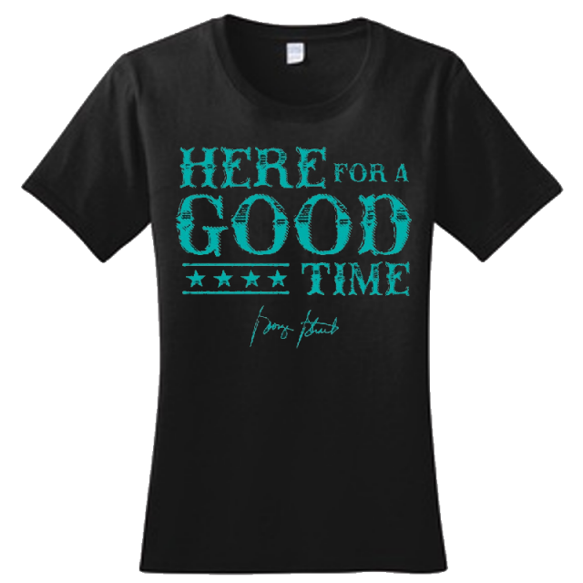 George Strait Ladies Jet Black Tee- Here For A Good Time