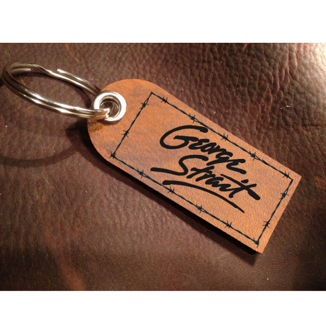 George Strait Leather Logo Keychain