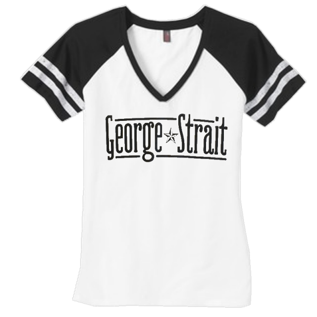 George Strait White and Black V Neck Tee
