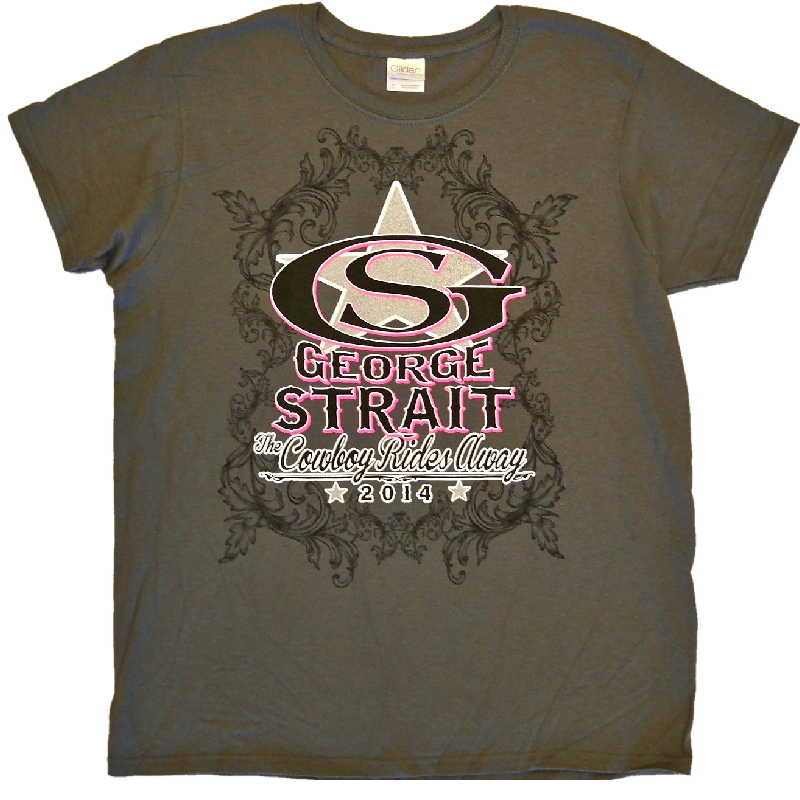 George Strait Ladies Charcoal Logo Tee