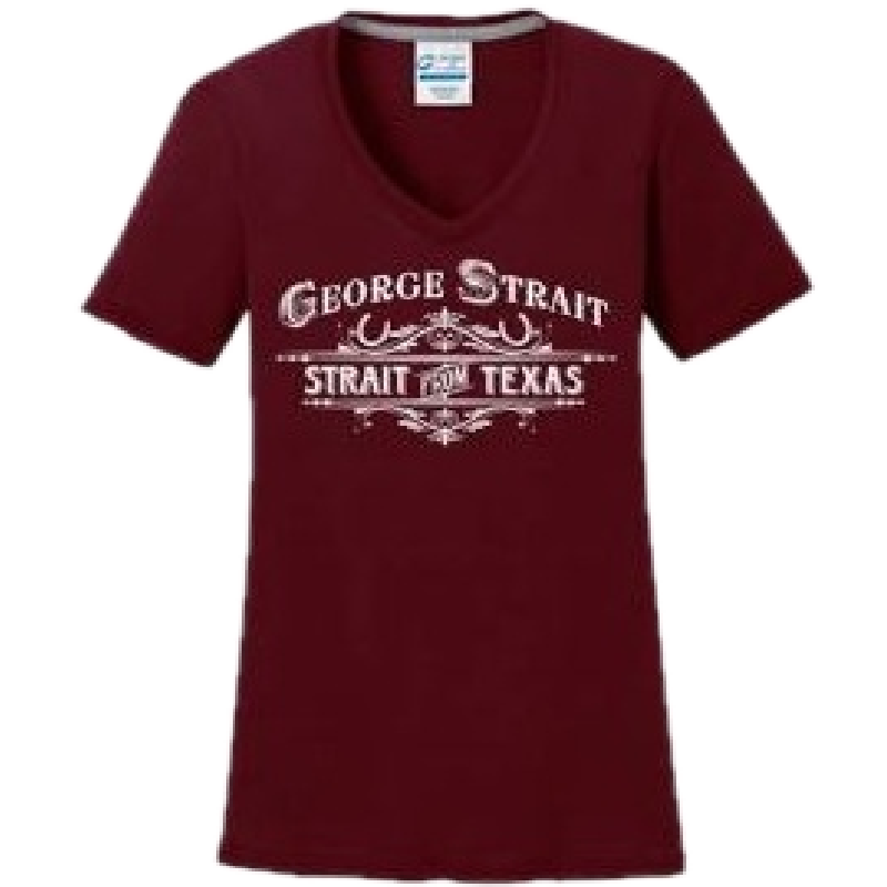 George Strait Ladies Maroon V Neck Performance Tee