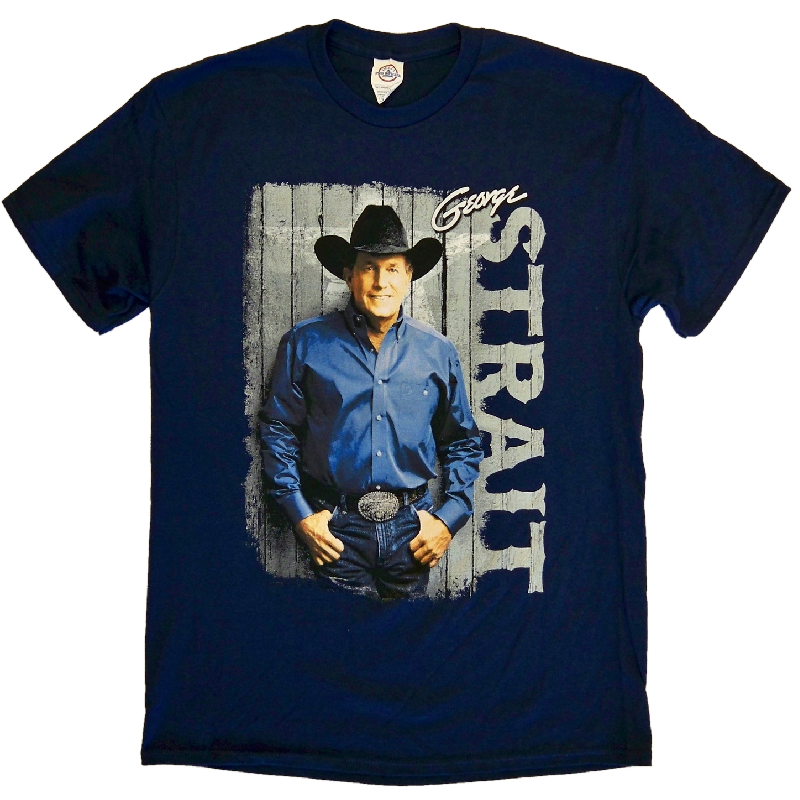 George Strait 2014 Navy Photo Tee- Cowboy Rides Away