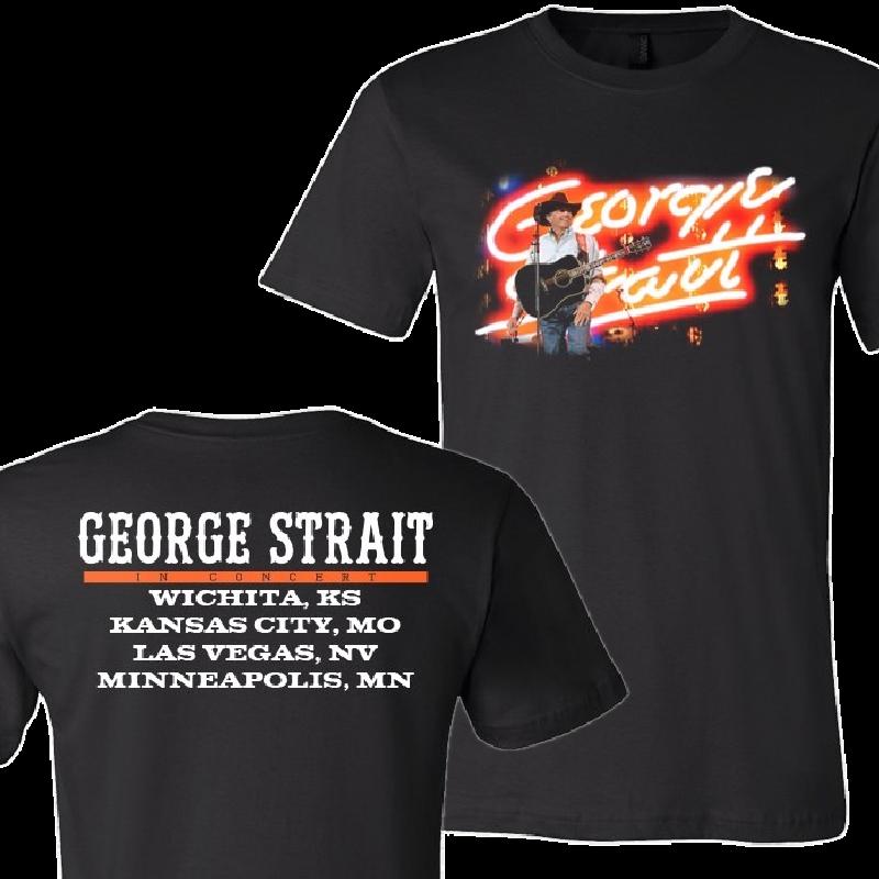 George Strait Neon Name Black Tour Tee
