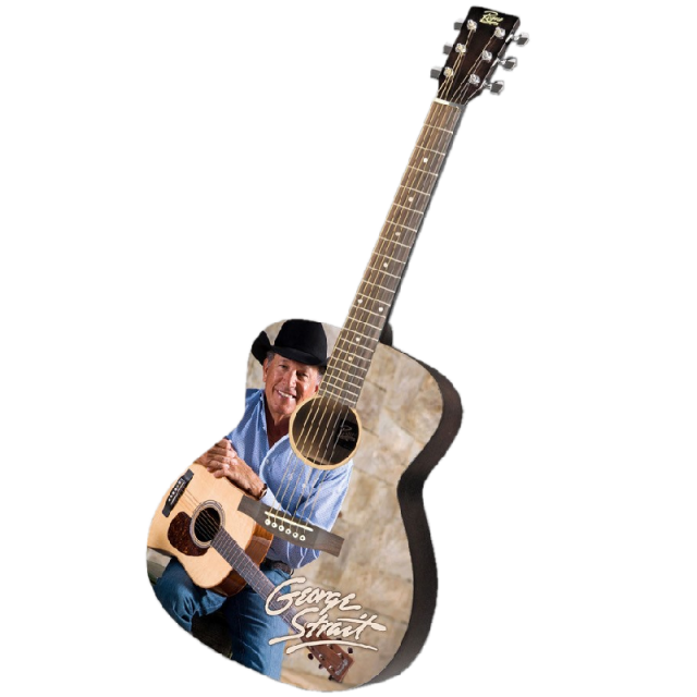 George Strait AUTOGRAPHED Guitar-George in Blue Shirt