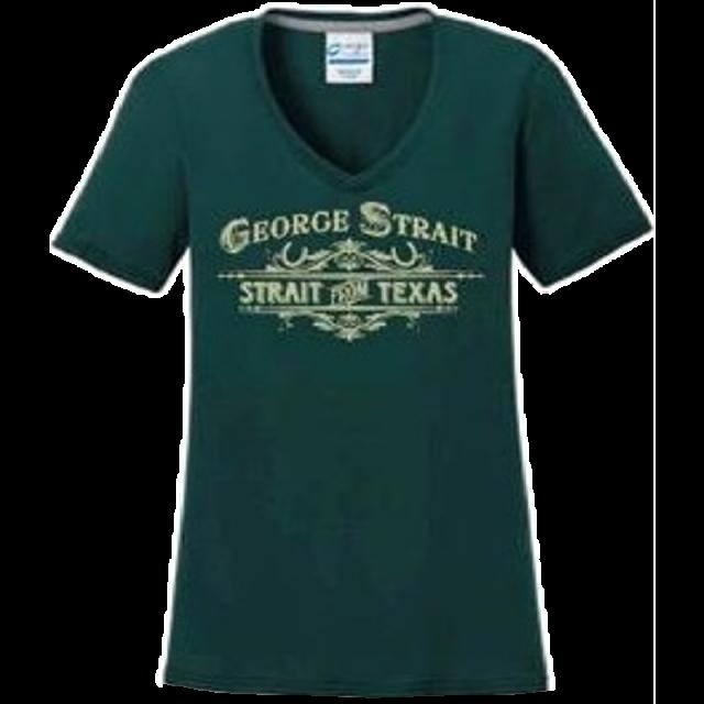George Strait Ladies Dark Green V Neck Performance Tee