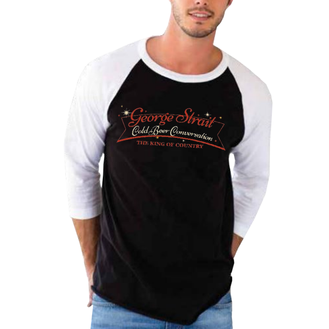 George Strait Black and White Baseball Tee