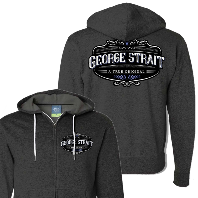 George Strait Heather Charcoal Zip Up Hoodie