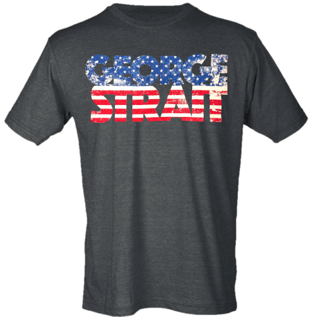 George Strait Heather Charcoal Flag Tee