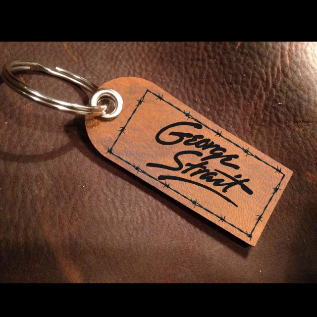 George Strait Leather Logo Keychain