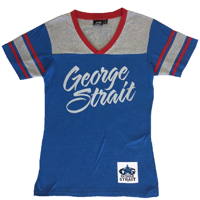 George Strait Red, Grey and Blue Athletic Shirt