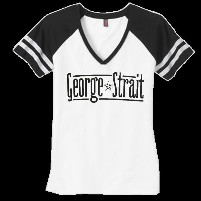 George Strait White and Black V Neck Tee